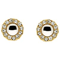 Monet Crystal Flower Stud Earrings Gold Clear