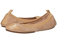 Yosi Samra Samantha Kid Suede Fold Up Flat With Patent Captoe Latte Women's Flat Shoes Brown