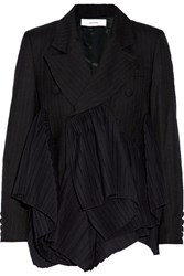 Facetasm Pleated Pinstriped Wool Blazer Navy