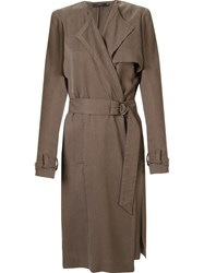 Andrea Marques Open Front Trench Coat Grey