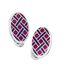 Jan Leslie Oval Crisscross And Dot Cuff Links Red Navy