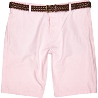 River Island Mens Pink Oxford Belted Bermuda Shorts