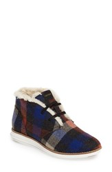 Cole Haan Women's Original Grand Faux Shearling Chukka Boot Plaid Wool Fabric