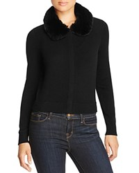 Magaschoni Zip Up Fur Trim Cashmere Cardigan Black