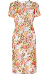 Stella Mccartney Neon Floral Jacquard Dress Orange