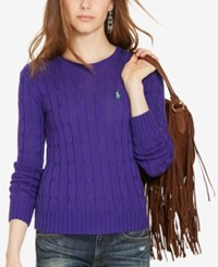 Polo Ralph Lauren Cable Knit Cotton Sweater Squire Purple