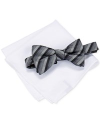 Alfani Men's Walsh Stripe Bow Tie And Pocket Square Set Only At Macy's Black