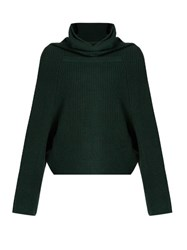 Toga Roll Neck Ribbed Knit Wool Sweater Dark Green