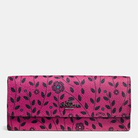 Coach Soft Wallet In Willow Floral Print Coated Canvas Dark Gunmetal Cerise Multi