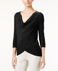 Inc International Concepts Cowl Neck Layered Sweater Only At Macy's Deep Black