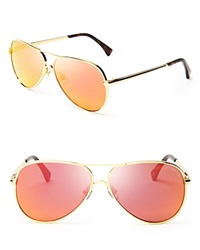 Wildfox Couture Wildfox Airfox Ii Deluxe Mirrored Aviator Sunglasses Gold Orange Mirror
