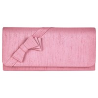 Jacques Vert Layered Bow Trim Clutch Bag Mid Pink