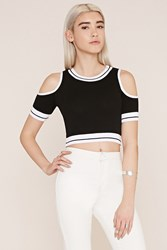 Forever 21 Open Shoulder Sweater Top Black White