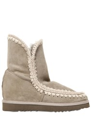 Mou 70Mm Eskimo Shearling Short Wedge Boots