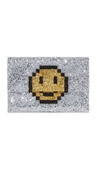 Anya Hindmarch Valorie Pixel Smiley Clutch Silver