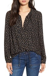 Wayf Women's 'Townsend' Long Sleeve Peasant Top Black Floral