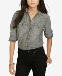 Denim And Supply Ralph Lauren Chambray Western Shirt Black