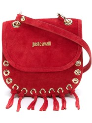 Just Cavalli Fringed Cross Body Bag Red