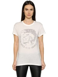 Diesel Studded Cotton Blend Jersey T Shirt