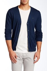 Original Penguin Long Sleeve 5 Button Jersey Cardigan Blue