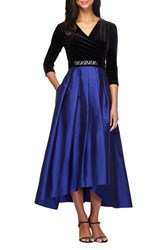 Alex Evenings Women's Velvet And Taffeta Fit And Flare Dress