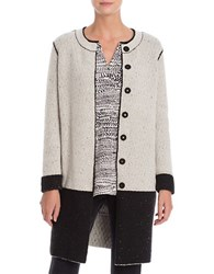 Nic Zoe Colorblock Long Sleeve Reversible Coat Black Mix