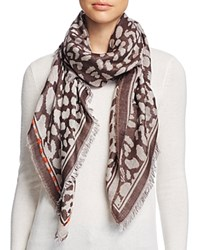 Fraas Animal Print Square Scarf Taupe