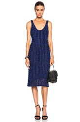 Proenza Schouler Open Crochet Knit Tank Dress In Blue