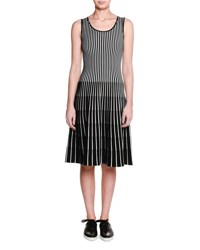 Tomas Maier Sleeveless Striped Fit And Flare Dress Black White