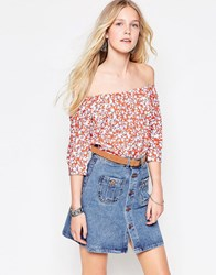 Influence Off Shoulder Floral Top Red