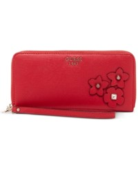 Guess Liya Large Zip Around Wristlet Wallet Red