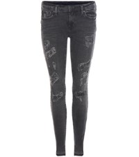 True Religion Casey Low Rise Super Skinny Distressed Jeans Grey