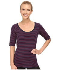 Lole Ada Top Blueberry 2 Tones Women's Short Sleeve Pullover Brown