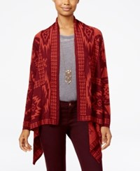 Ohmg Oh Mg Juniors' Southwest Asymmetrical Hem Cardigan Burgundy