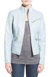 Women's Guess Quilt Detail Faux Leather Stand Collar Jacket Baby Blue