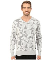 Dkny Long Sleeve Camo Jacquard V Neck Sweater Light Heather Grey Men's Sweater Silver