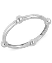 Robert Lee Morris Soho Silver Tone Large Bead Accented Hinged Bangle Bracelet