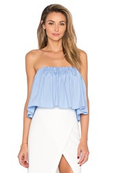 Milly Strapless Crop Top Blue