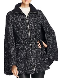 Laundry By Shelli Segal Belted Tweed Cape Coat Black Grey