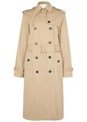 Valentino Sand Studded Twill Trench Coat Beige