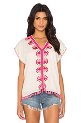 Maison Scotch Embroidered Boho Gypsy Top Cream