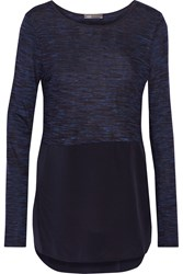 Vince Stretch Jersey And Silk Top Blue