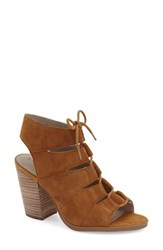 Women's Hinge 'Drea' Peep Toe Leather Sandal Chestnut Suede