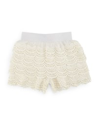 Truluv Tiered Scalloped Lace Shorts Ivory
