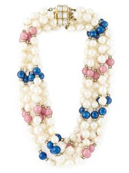 Celine Vintage Pearl Bead Necklace Multicolour