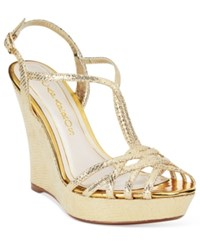 Caparros Bristol T Strap Wedge Evening Sandals Women's Shoes
