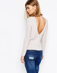 Daisy Street Rib Turtle Neck Top With Cut Out Low Back Grey