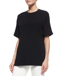 Derek Lam Crewneck Draped Back Blouse Black