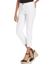 Style And Co. Curvy Fit Embellished Capri Jeans Bright White Wash