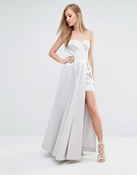 Fame And Partners Maxi Structured Prom Dress In Satin Light Grey Green